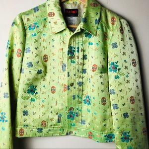 Christian Lacrox BAZAAR lime green blazer SZ 40